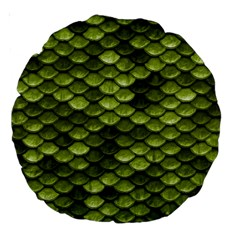 Green Mermaid Scales   Large 18  Premium Round Cushions by paulaoliveiradesign