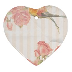 Vintage Roses Floral Illustration Bird Ornament (heart) by paulaoliveiradesign