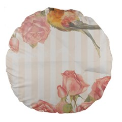 Vintage Roses Floral Illustration Bird Large 18  Premium Round Cushions by paulaoliveiradesign