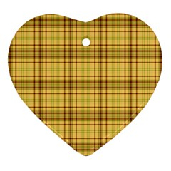 Plaid Yellow Fabric Texture Pattern Ornament (heart) by paulaoliveiradesign
