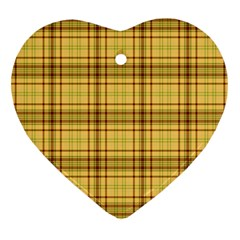 Plaid Yellow Fabric Texture Pattern Heart Ornament (two Sides) by paulaoliveiradesign