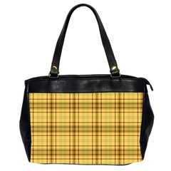 Plaid Yellow Fabric Texture Pattern Office Handbags (2 Sides)  by paulaoliveiradesign