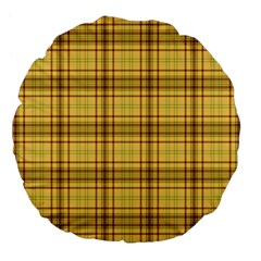 Plaid Yellow Fabric Texture Pattern Large 18  Premium Flano Round Cushions by paulaoliveiradesign