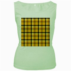 Yellow Fabric Plaided Texture Pattern Women s Green Tank Top by paulaoliveiradesign