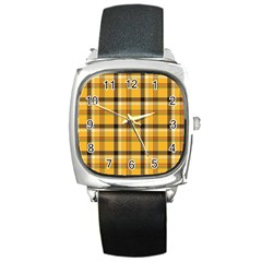 Yellow Fabric Plaided Texture Pattern Square Metal Watch by paulaoliveiradesign