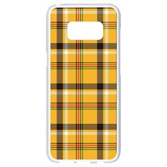 Yellow Fabric Plaided Texture Pattern Samsung Galaxy S8 White Seamless Case
