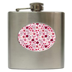 Red Floral Seamless Pattern Hip Flask (6 Oz) by TastefulDesigns