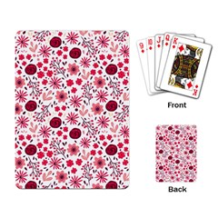 Red Floral Seamless Pattern Playing Card by TastefulDesigns