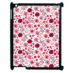 Red Floral Seamless Pattern Apple Ipad 2 Case (black) by TastefulDesigns
