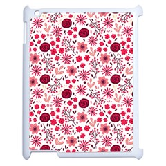 Red Floral Seamless Pattern Apple Ipad 2 Case (white) by TastefulDesigns