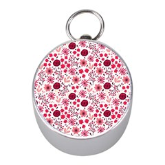 Red Floral Seamless Pattern Mini Silver Compasses by TastefulDesigns
