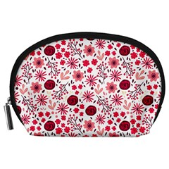 Red Floral Seamless Pattern Accessory Pouches (large)  by TastefulDesigns