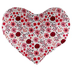 Red Floral Seamless Pattern Large 19  Premium Flano Heart Shape Cushions by TastefulDesigns