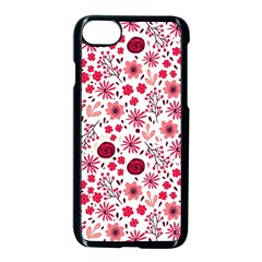 Red Floral Seamless Pattern Apple Iphone 7 Seamless Case (black) by TastefulDesigns