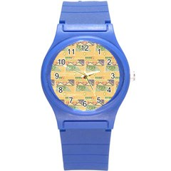 Hand Drawn Ethinc Pattern Background Round Plastic Sport Watch (s) by TastefulDesigns