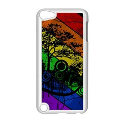 Trees Stripes Lines Rainbow  Apple Ipod Touch 5 Case (white) by amphoto
