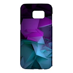 Abstract Shapes Purple Green  Samsung Galaxy S7 Edge Hardshell Case by amphoto