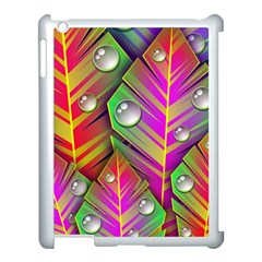 Leaves Dew Art Bright Lines Patterns  Apple Ipad 3/4 Case (white) by amphoto