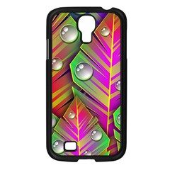 Leaves Dew Art Bright Lines Patterns  Samsung Galaxy S4 I9500/ I9505 Case (black) by amphoto