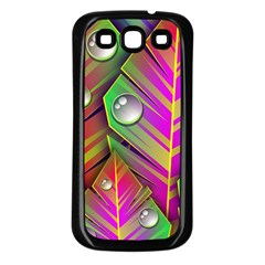 Leaves Dew Art Bright Lines Patterns  Samsung Galaxy S3 Back Case (black) by amphoto