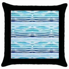 Watercolor Blue Abstract Summer Pattern Throw Pillow Case (black) by TastefulDesigns
