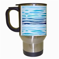 Watercolor Blue Abstract Summer Pattern Travel Mugs (white) by TastefulDesigns