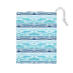 Watercolor Blue Abstract Summer Pattern Drawstring Pouches (large)  by TastefulDesigns