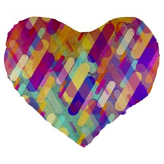 Colorful Abstract Background Large 19  Premium Heart Shape Cushions by TastefulDesigns