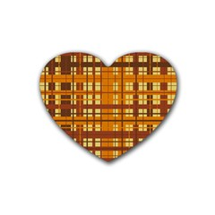 Plaid Pattern Rubber Coaster (heart)  by linceazul