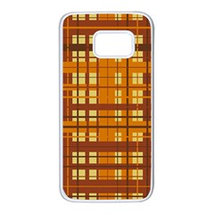 Plaid Pattern Samsung Galaxy S7 White Seamless Case by linceazul