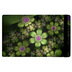 Abstraction Fractal Flowers Greens  Apple Ipad 3/4 Flip Case by amphoto