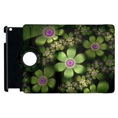 Abstraction Fractal Flowers Greens  Apple Ipad 3/4 Flip 360 Case by amphoto