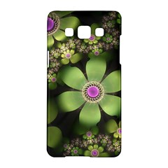 Abstraction Fractal Flowers Greens  Samsung Galaxy A5 Hardshell Case  by amphoto