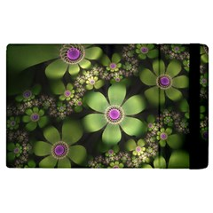 Abstraction Fractal Flowers Greens  Apple Ipad Pro 9 7   Flip Case by amphoto