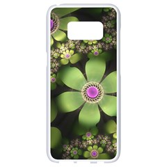 Abstraction Fractal Flowers Greens  Samsung Galaxy S8 White Seamless Case by amphoto