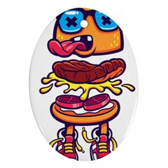 Burger Kill Oval Ornament (two Sides) by quirogaart