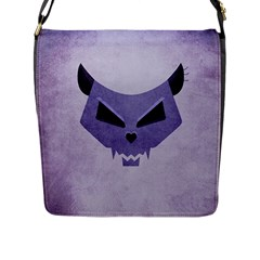 Purple Evil Cat Skull Flap Messenger Bag (l)  by CreaturesStore