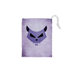 Purple Evil Cat Skull Drawstring Pouches (xs)  by CreaturesStore