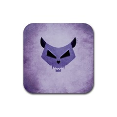 Purple Evil Cat Skull Rubber Coaster (square)  by CreaturesStore