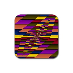 Autumn Check Rubber Square Coaster (4 Pack)  by designworld65