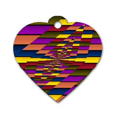 Autumn Check Dog Tag Heart (one Side) by designworld65