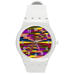 Autumn Check Round Plastic Sport Watch (m) by designworld65