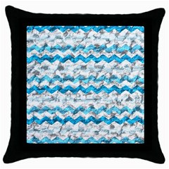 Baby Blue Chevron Grunge Throw Pillow Case (black) by designworld65