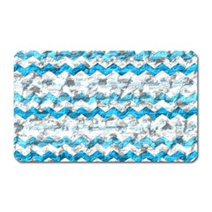 Baby Blue Chevron Grunge Magnet (rectangular)