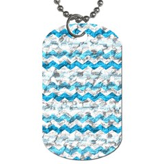 Baby Blue Chevron Grunge Dog Tag (two Sides)
