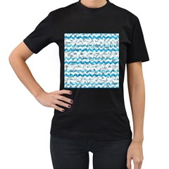 Baby Blue Chevron Grunge Women s T Shirt (black) (two Sided)