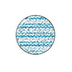 Baby Blue Chevron Grunge Hat Clip Ball Marker (10 Pack)