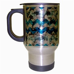 Baby Blue Chevron Grunge Travel Mug (silver Gray)