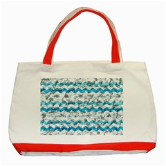 Baby Blue Chevron Grunge Classic Tote Bag (red) by designworld65