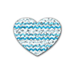 Baby Blue Chevron Grunge Heart Coaster (4 Pack)  by designworld65